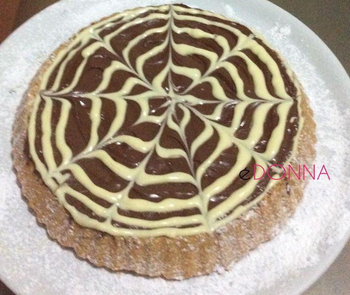 Crostata con nutella e cioccolato bianco