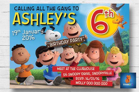 Snoopy Invitation - Peanuts Invitation - Snoopy Party Invitation for boy or girl - Snoopy Party - Charlie Brown Invitation - Digital File by InviteART on Etsy