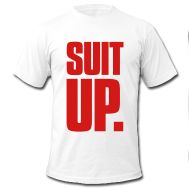 "SwimSwam's ""Suit up."" men's white tee with red writing made from 100% jersey cotton by American Apparel. May the suit be ever in your favour- only available at the SwimSwam Swag Store! ($25.99)"