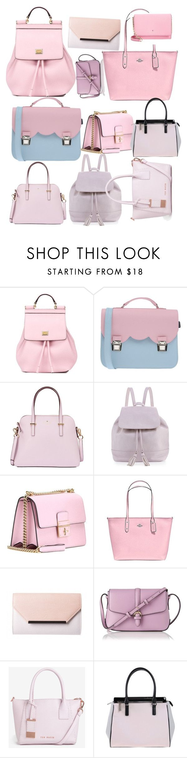 """pink purse collection"" by styyledbykristin ❤ liked on Polyvore featuring Dolce&Gabbana, La Cartella, Kate Spade, Neiman Marcus, Coach, L.K.Bennett, Ted Baker and Versace"