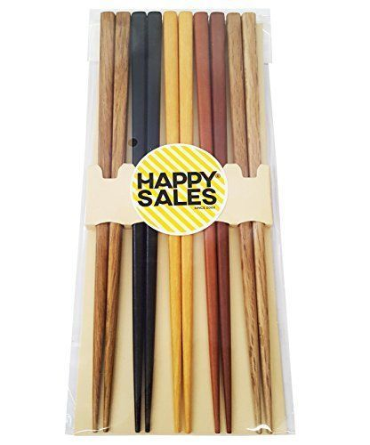 Bamboo-Chopsticks-5-Pairs-Multi-Color-Design-Japanese-Gift-Set-Mnt-Kichen-New
