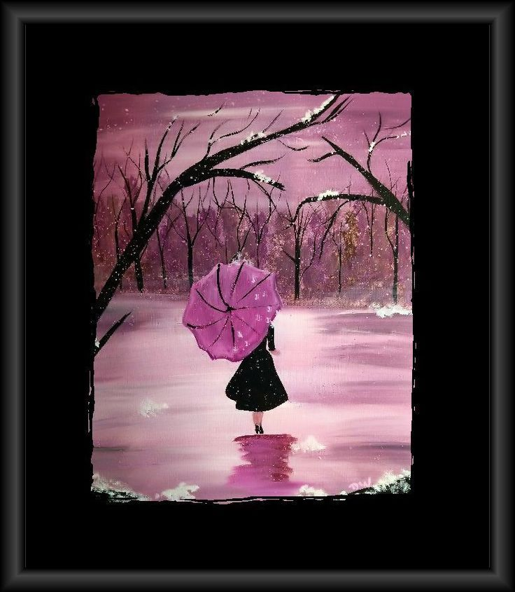 12 x 12 Canvas Acrylic Painting...Strawberry Winter Umbrella Art #Surrealism