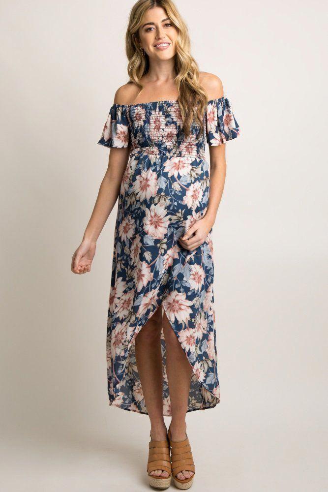 b491c4b93b0f Blue Floral Off Shoulder Smocked Wrap Dress  pregnancydiy
