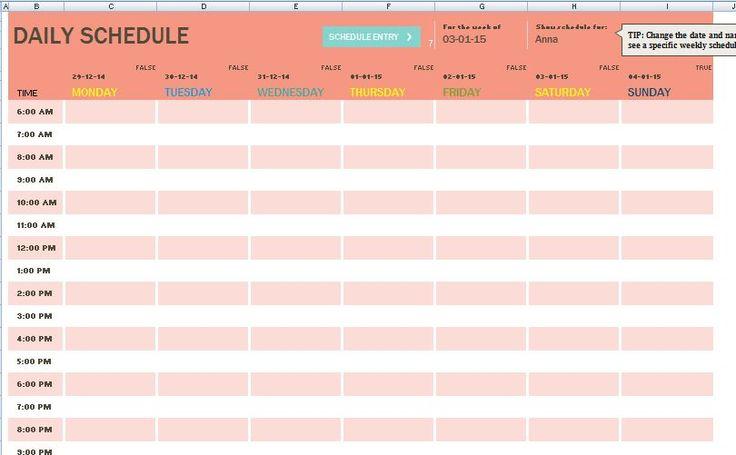 Шаблон член семьи Ежедневное расписание задач