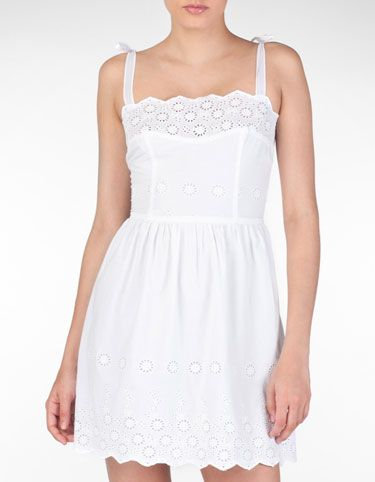 Strap dress with embroidery detail