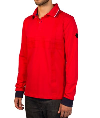 Red Polo shirt with pocket and long sleeves, 100% cotton.  This Polo shirt has a unique design, with a red stripe in the middle and two stripes of the same color that intersect. The blue is present on the cuffs, inside and outside of the neck and button holes and threads. The star on the sleeve is the designer's signature. http://www.tailor4less.com/en/collections/custom-polo-shirts/stylo/carlino