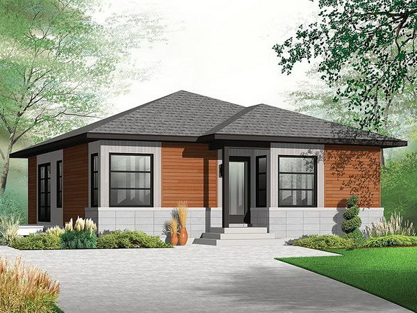 Small Grey Hip Roof House 1 Modern Contemporary