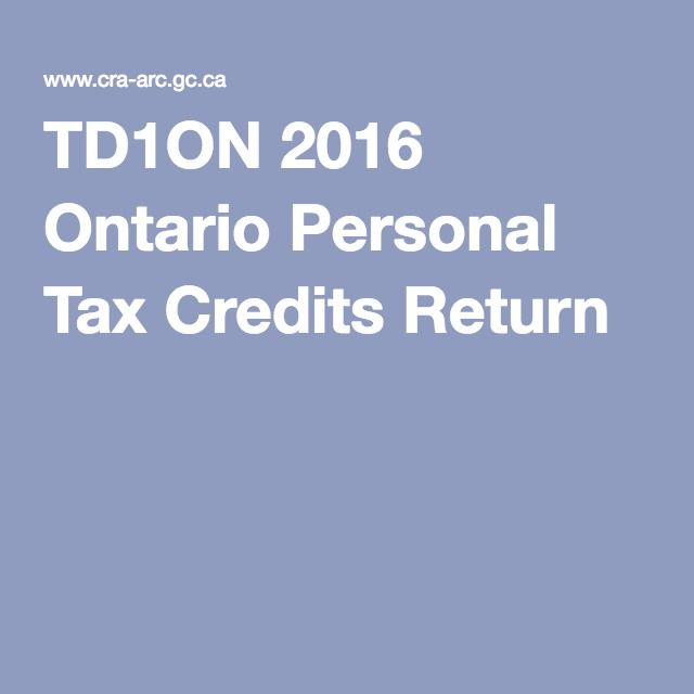 TD1ON 2016 Ontario Personal Tax Credits Return