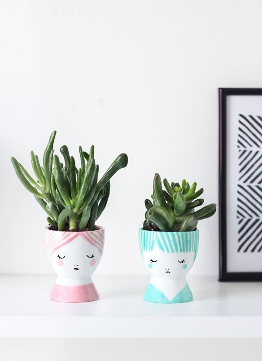 DIY: mini face planters   sugar & cloth