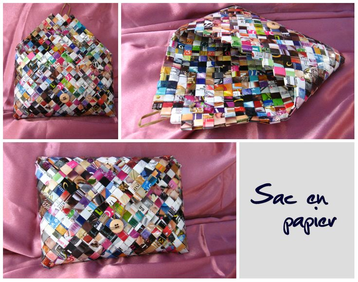 Sac en papier a main avec bouton et rabat. (Paper bag with button and flap.)  Dimensions: 26 x 18 x 4 cm