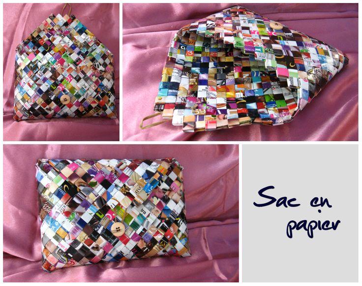 Sac en papier a main avec bouton et rabat. (Paper bag with button and flap.)  Dimensions: 26 x 18 x 4 cm