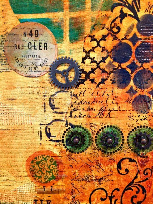 mixed media canvas collage by Marjie Kemper Feb16F
