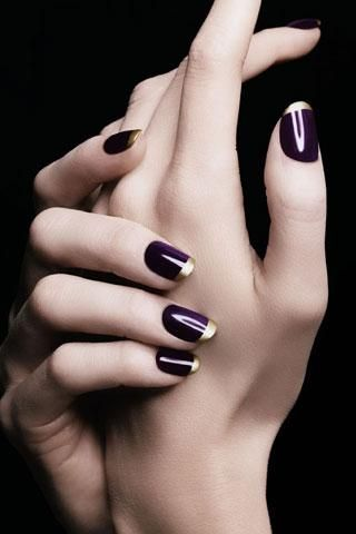 plum with gold tip nails #nail #art