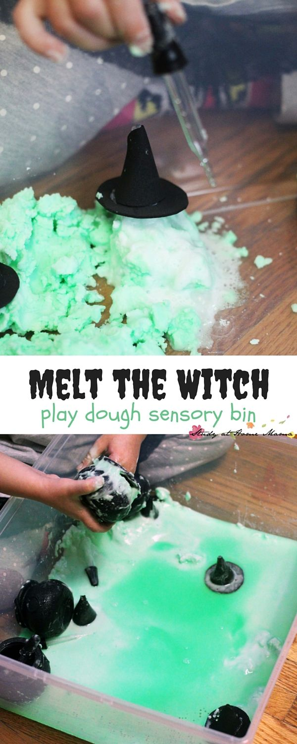 Melt the Witch Play Dough Sensory Bin - Wizard of Oz pretend play that takes 5 minutes to set up and the kids can play for over an hour! A fun twist on the traditional baking soda and vinegar experiment