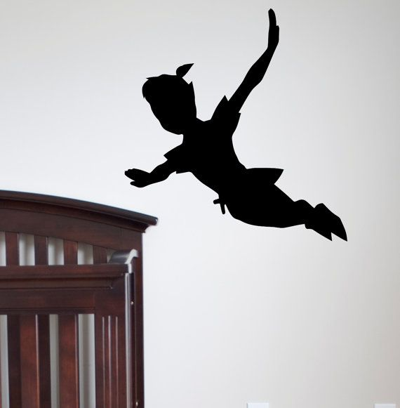 Flying Peter Pan Shadow Wall Decal Vinyl Sticker Peter Pan Silhouette Fantasy Fairytale Wall Decals Nursery Kids Bedding Home Decor Q024