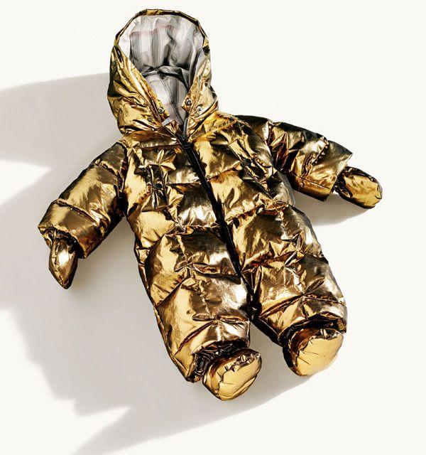 Fancy - Burberry Gold Metallic Baby Snowsuit - Yeah, that's a bit much, but it looks fun.
