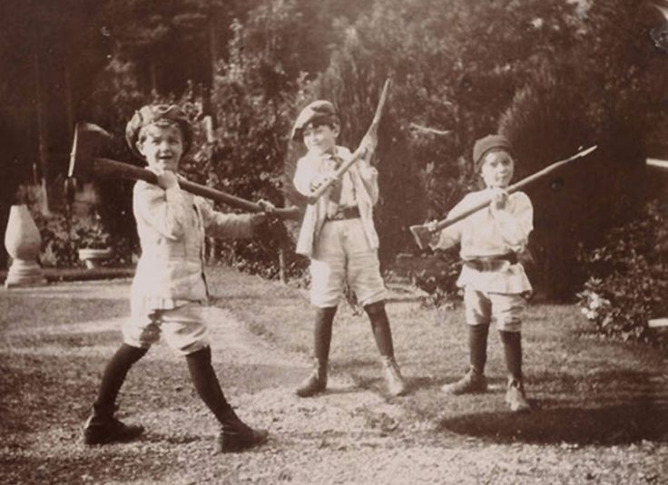 George, John and Peter Llewelyn Davies in The Boys Castaways—a picture book made by J.M Barrie of the boys' adventures during the summer of 1901.