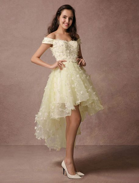 High-low Prom Dress Lace Beading Off-the-shoulder Homecoming Dress Backless 3D Flower Applique Cocktail Dress  #Cocktail #Dress