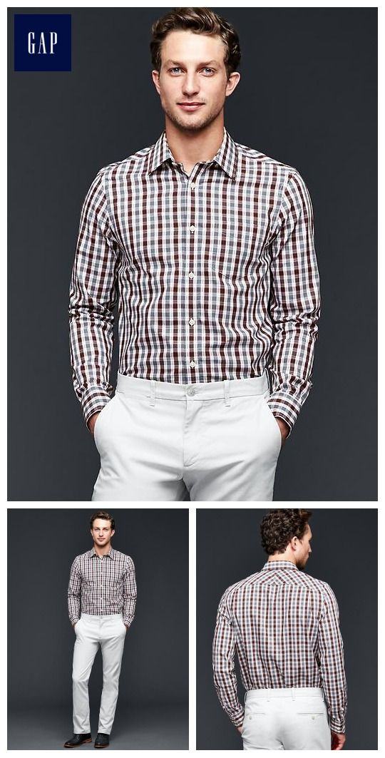$25 Banana Republic Wrinkle-resistant worth plaid shirt