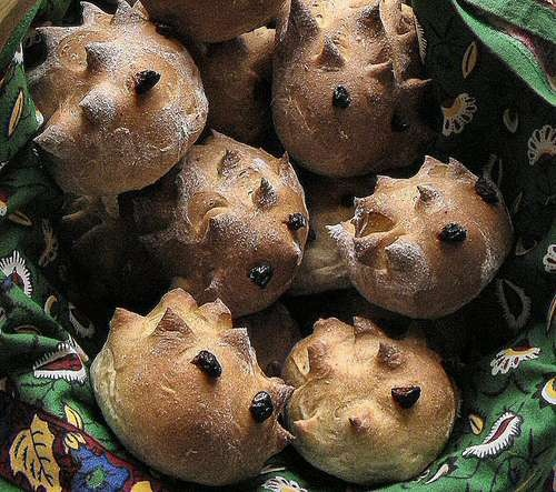 we made hedgehog rolls for our Beatrix Potter themed party...recipe/instructions in the Peter Rabbit Party book.