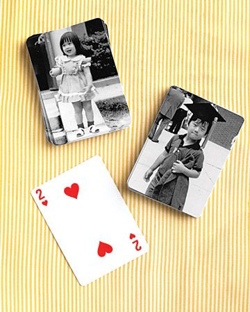 Playing Cards    Your guests will flip for playing cards depicting you and your partner as tykes. We had these made by Kodak Gallery.
