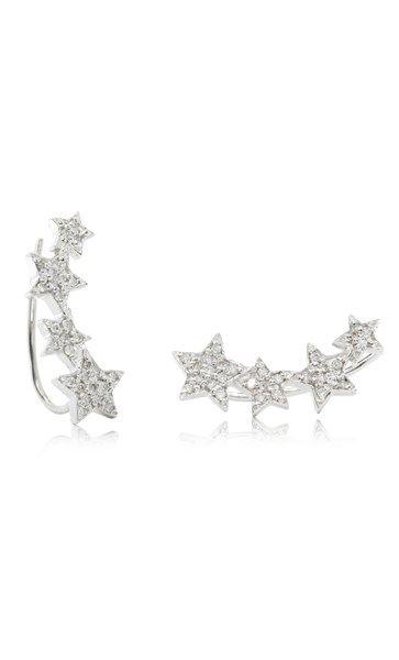 9ct white gold diamond star climber earrings