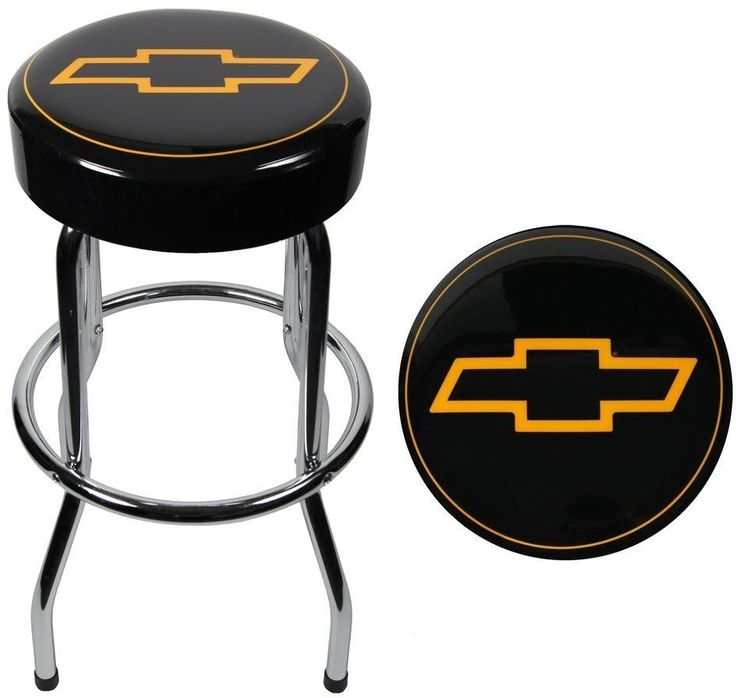 Chevy Bow Tie Garage Stool Plasticolor Padded Chrome Metal Bar Chair #PLASTICOLORINC #Novelty