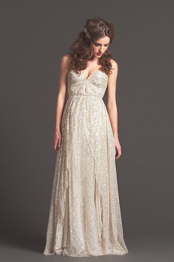 Silver Wedding Dress Ideas : Best 25 sparkly wedding dresses ideas only on pinterest
