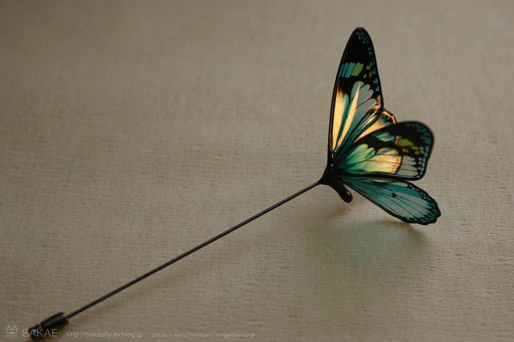 簪作家榮 2012蝶 ピン 切り絵 Japanese hair accessory -Butterfly Pin- by Sakae, Japan   http://sakaefly.exblog.jp/   http://www.flickr.com/photos/sakaefly/