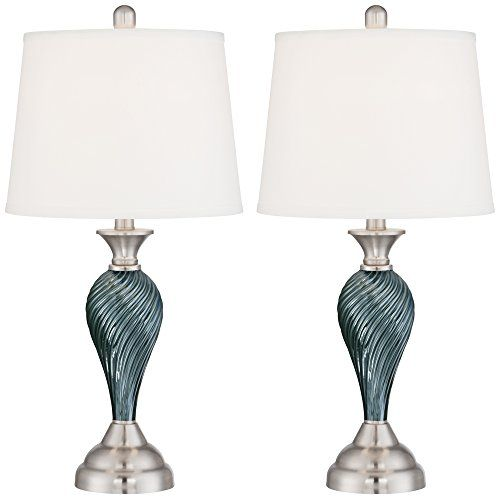 Arden Green-Blue Glass Twist Column Table Lamps - Set of ...