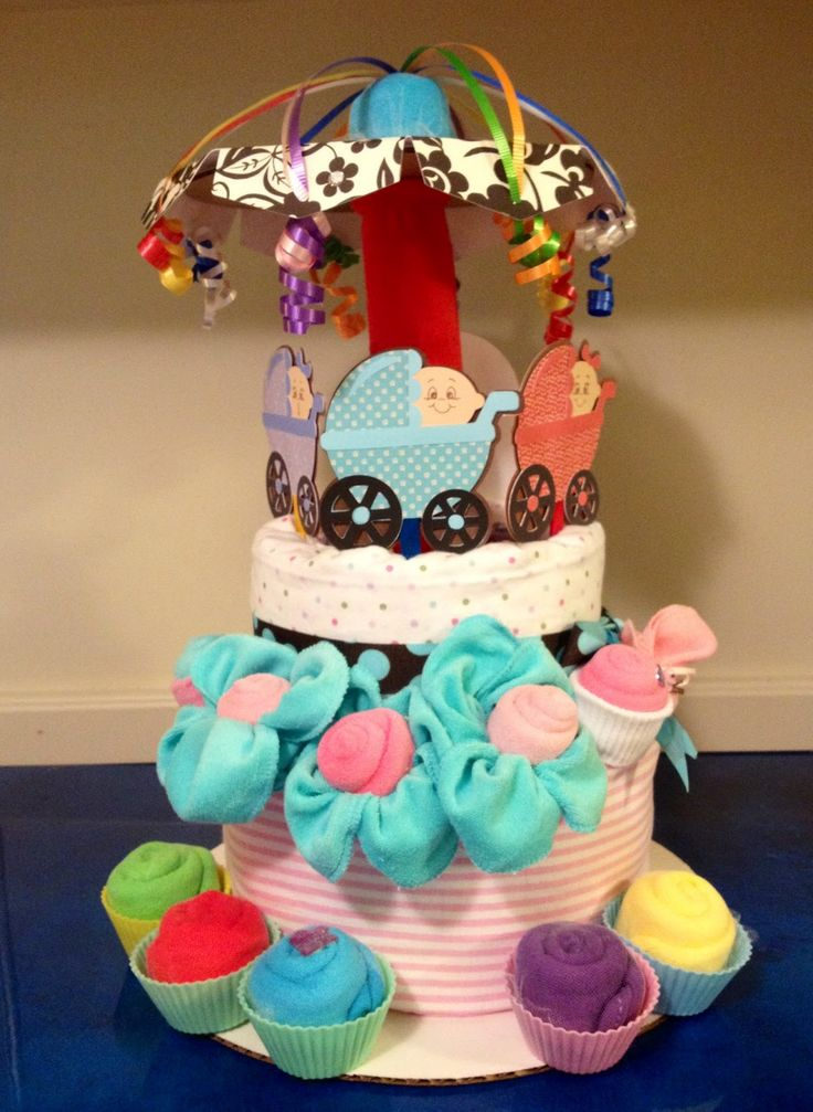 baby diaper cake roses for boy | Marilyn's Diaper Cakes ~: Baby Carriage Carousel: Diaper Cake