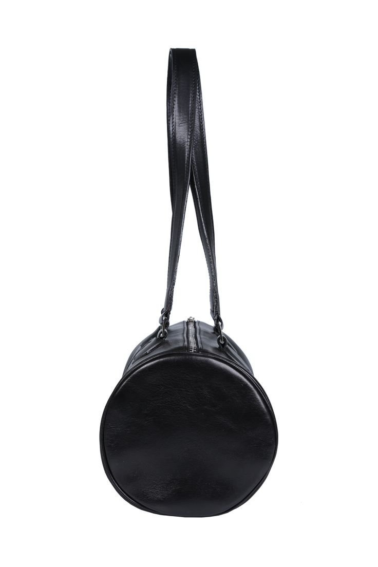 Side #leather #black #cylinder #handbag #barrel #barrelbag