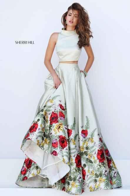 Sherri Hill 50270 Нежно Зеленое Выпускное Платье с Цветочным Принтом