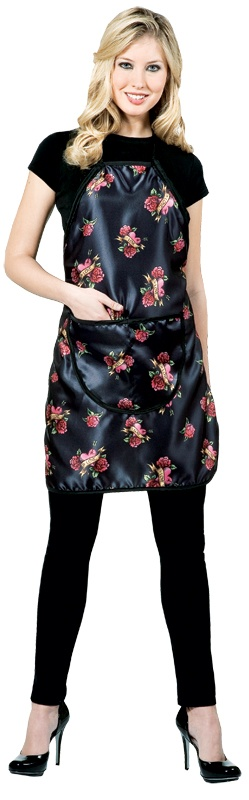 Tough Love Apron (#178)  *Matte finish with a soft texture  *Easily adjustable with pull strings  *Functional deep pockets  *Waterproof  *Trendy all over tattoo print