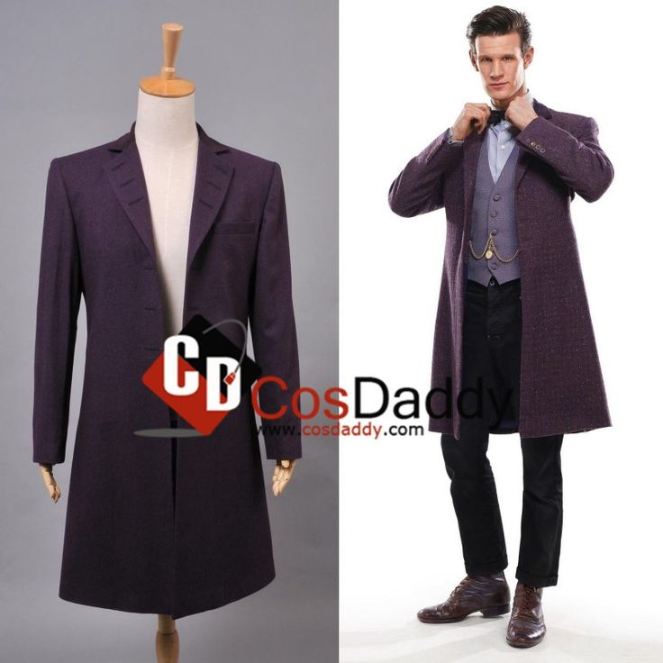 Who-is-Doctor-Eleventh-11-th Dr-Purple-Wool-Frock-Coat-Costume