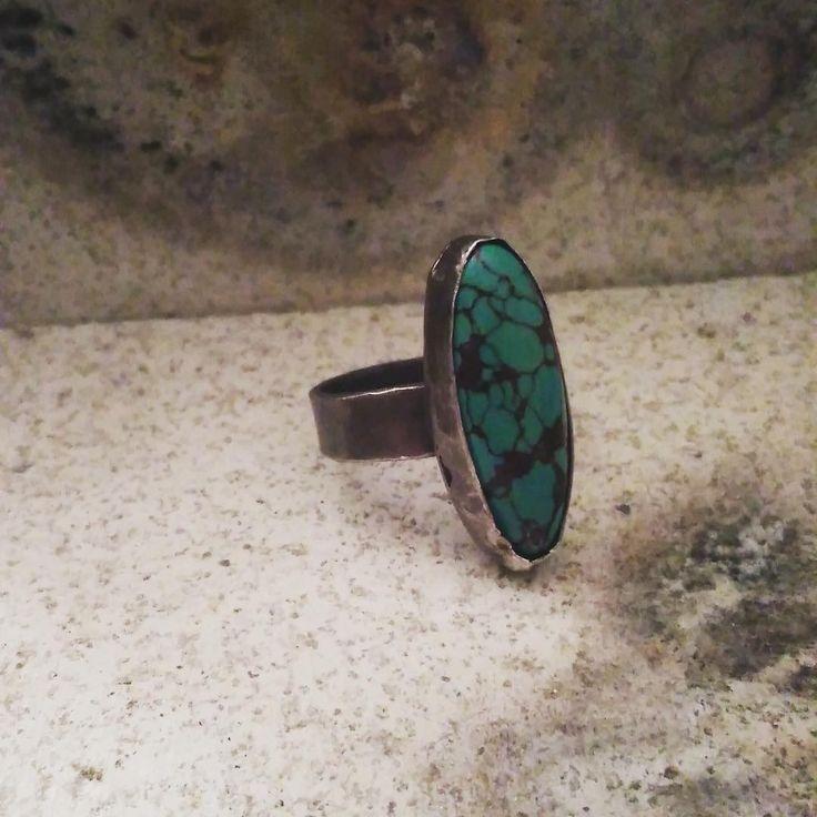Hot off the bench!! Simple turquoise ring!!  #turquoise #handmadejewelry #silver #oxidised #ElizabethGillard #jewellery