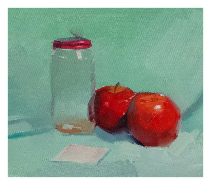 Still life painting done in class. Oil on board.