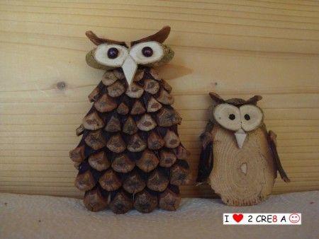twee uilen, gemaakt van natuurlijke materialen