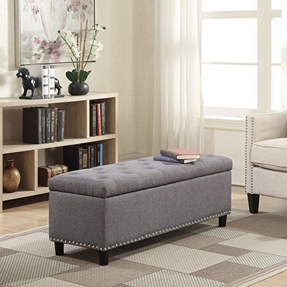 Belleze 48 Rectangular Gray Storage Fabric Ottoman Bench Tufted Footrest Lift Top Storage Ottoman Bench Storage Ottoman Fabric Ottoman