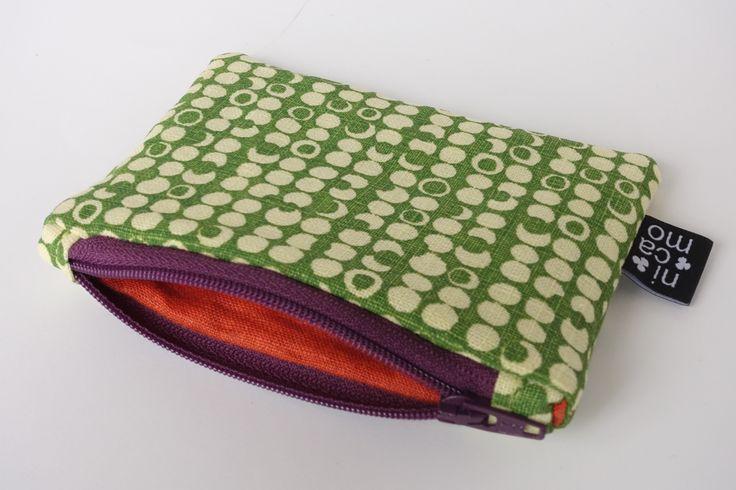 zipper pouch with handmade screenprint