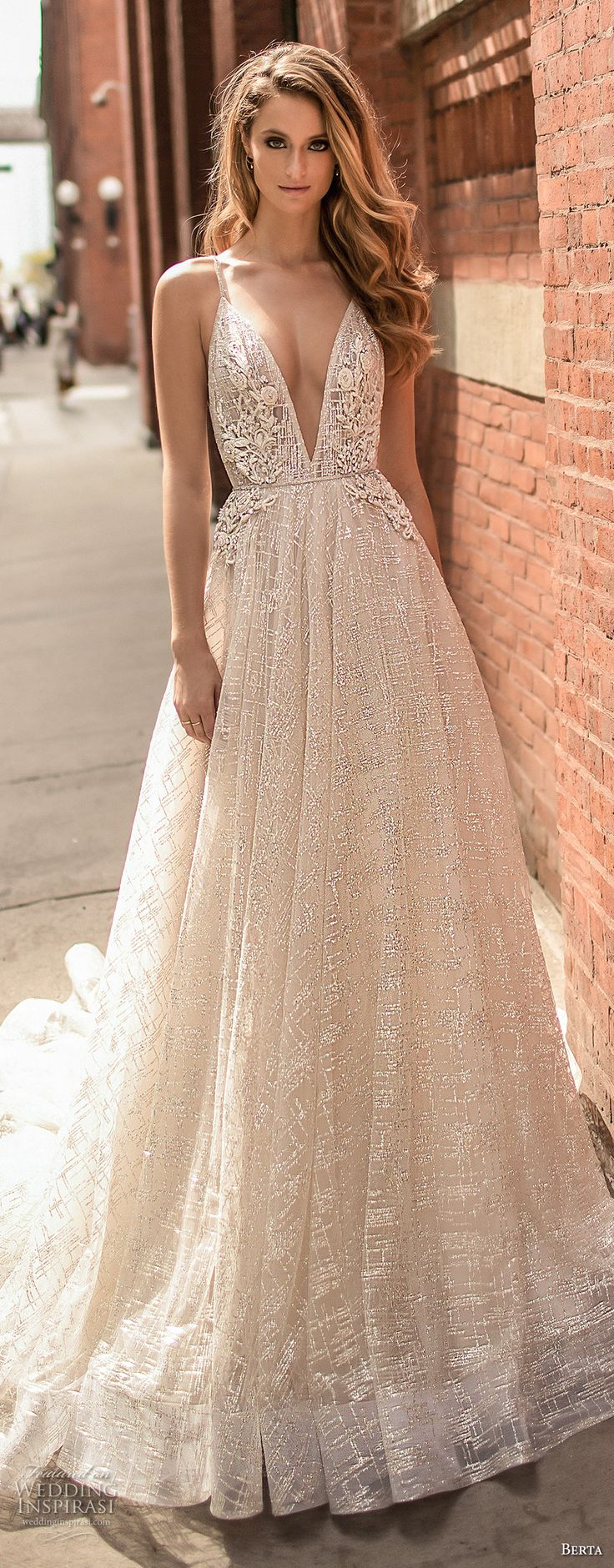 berta spring 2018 bridal spaghetti strap deep v neck full embellishment sexy romantic a  line wedding dress open back chapel train (2) mv -- Berta Spring 2018 Wedding Dresses