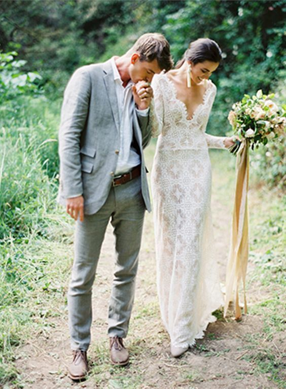 Casual groom? Lose the tie for a less formal wedding look. As long as the rest of the suit is nice and tailored, the outfit should still look classy enough for a wedding.