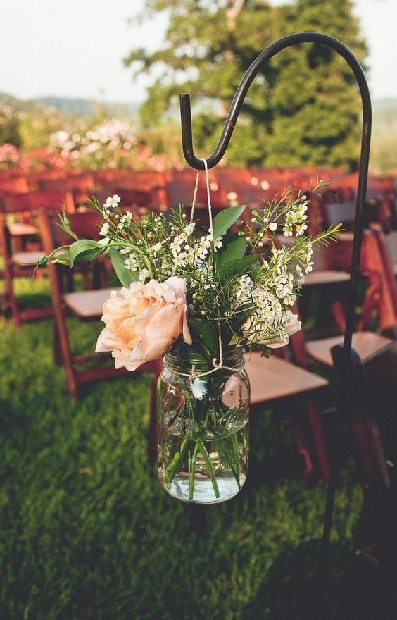 August wedding front porch farms wedding, mason jars and shepherds hooks for summer wedding / http://www.deerpearlflowers.com/50-ways-to-incorporate-mason-jars-into-your-wedding/3/