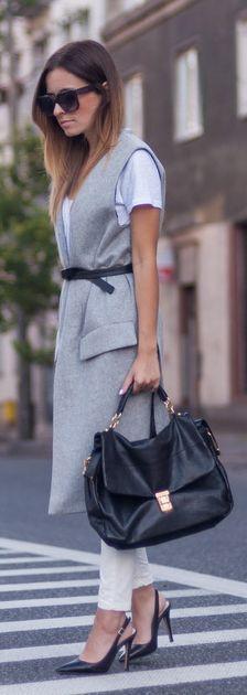 Zara Grey Long Line Taylor Vest