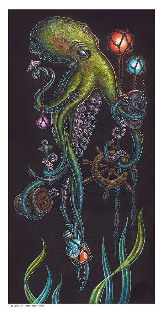 The Art of Doug Horne Octopus nautical limited by DougHorneArt. Am I out of wall space?