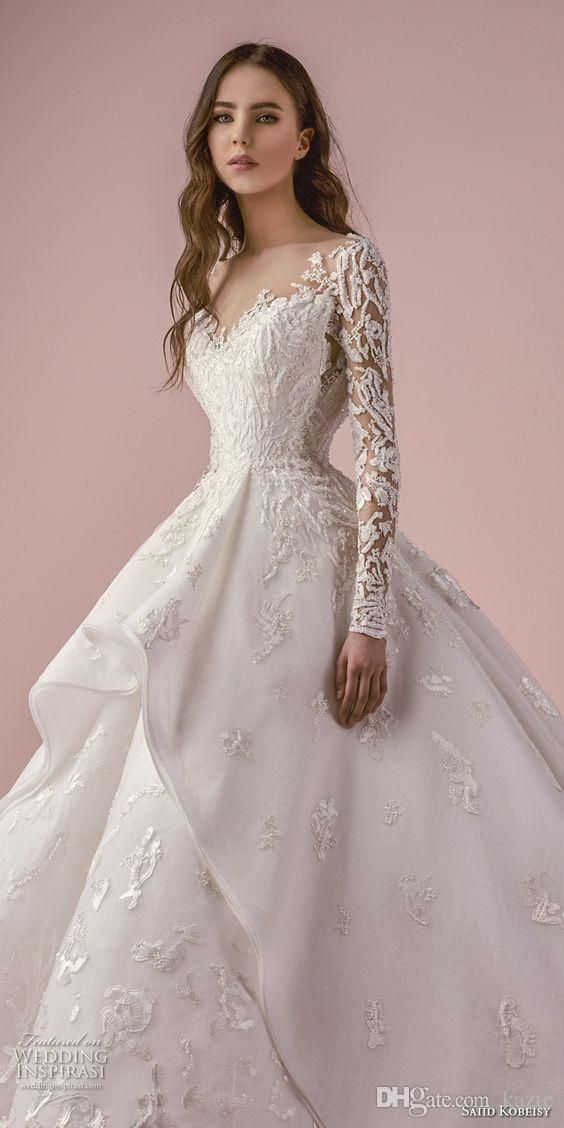 Luxury Lace Embroidery Long Sleeve Ball Gown Wedding Dresses 2018 Cathedral Train Saiid Kobeisy Dubai Bridal Gown Wedding Boutiques Bridal Gown Accessories From Kazte, $ 190.96   i dhgate.co