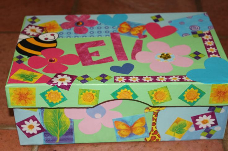 One of the shoeboxes I decorated for Santa Shoebox 2013, using scraps of craft and wrapping paper and modgepodge.