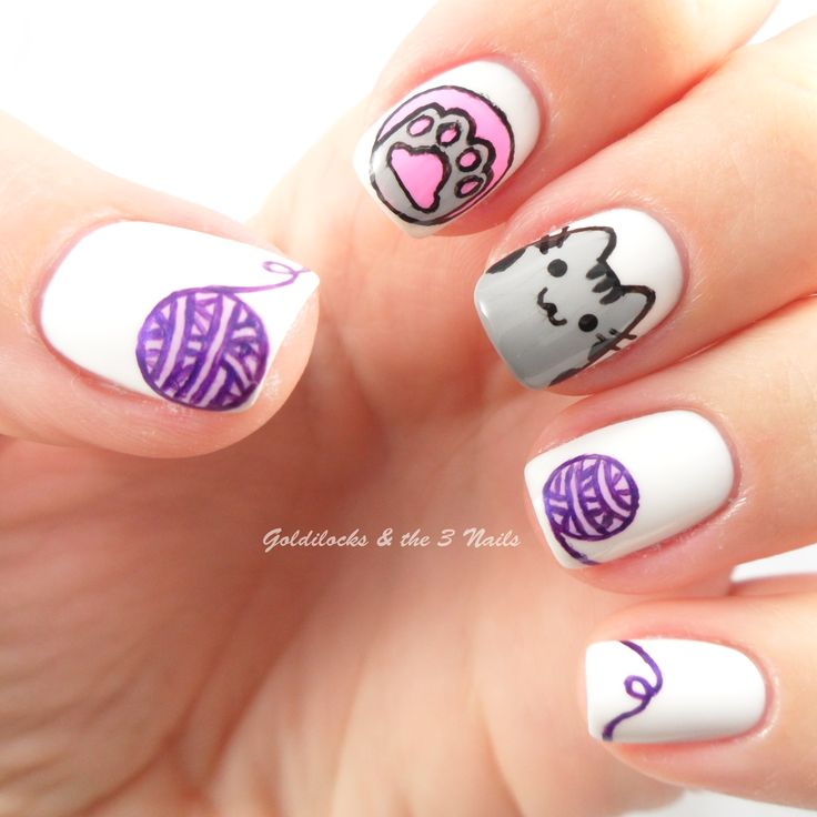 Pusheen Cat Nail Art / Cat Nails | International Day of Cats