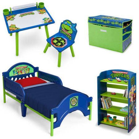 Nickelodeon Teenage Mutant Ninja Turtles Bedroom in a Box with Bonus Toy Organizer, Multicolor