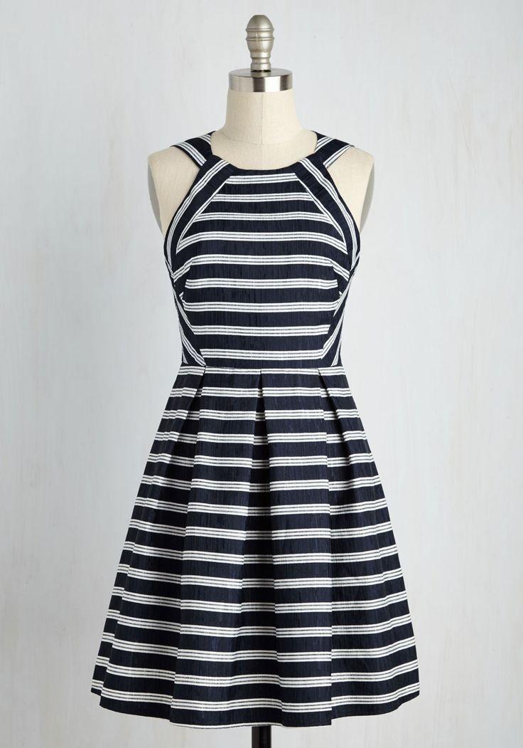 I Yacht So! Dress - Blue, White, Stripes, Print, Casual, Nautical, A-line, Sleeveless, Spring, Woven, Good, Mid-length